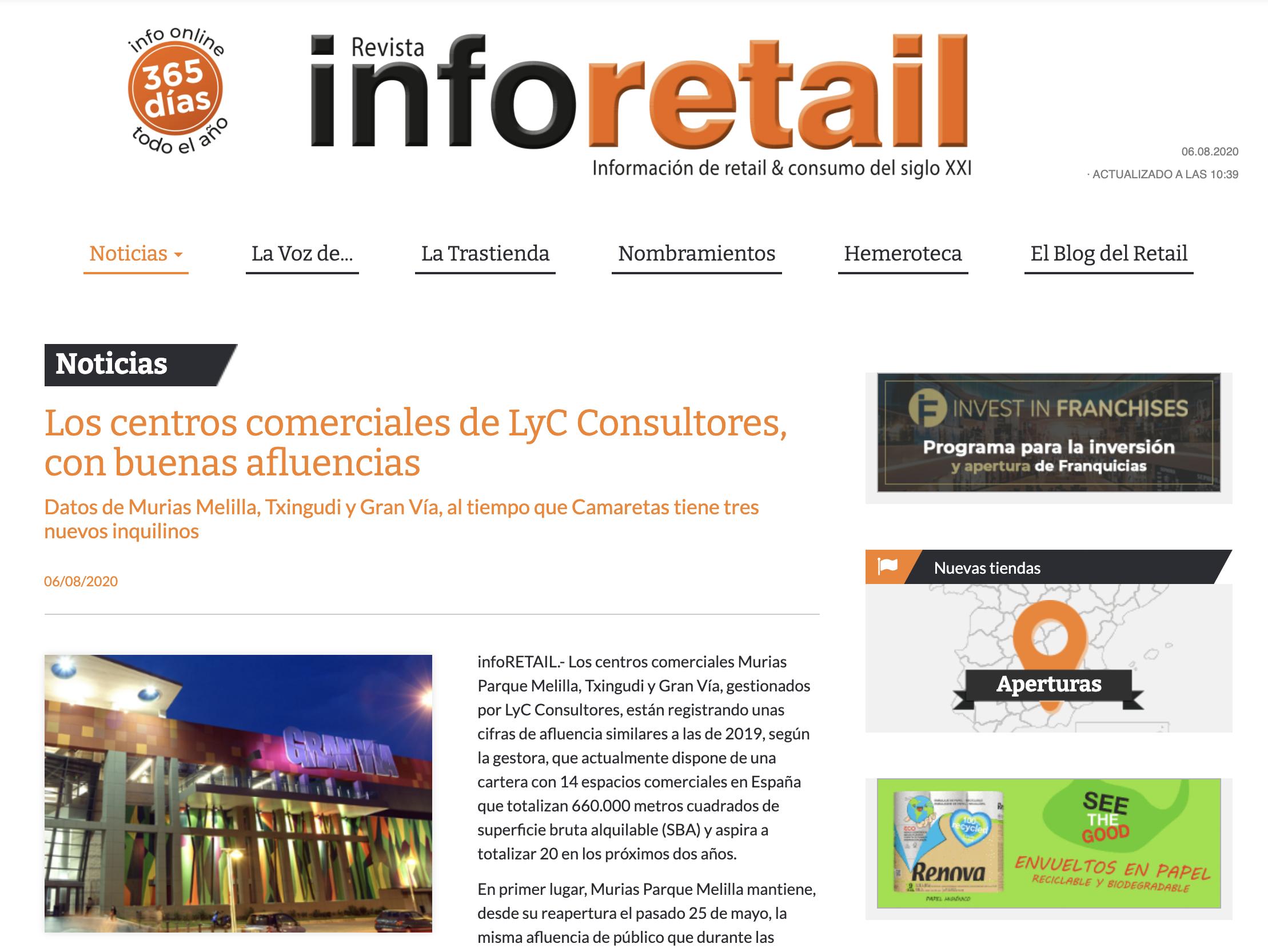 Los centros comerciales de LyC Consultores, con buenas afluencias