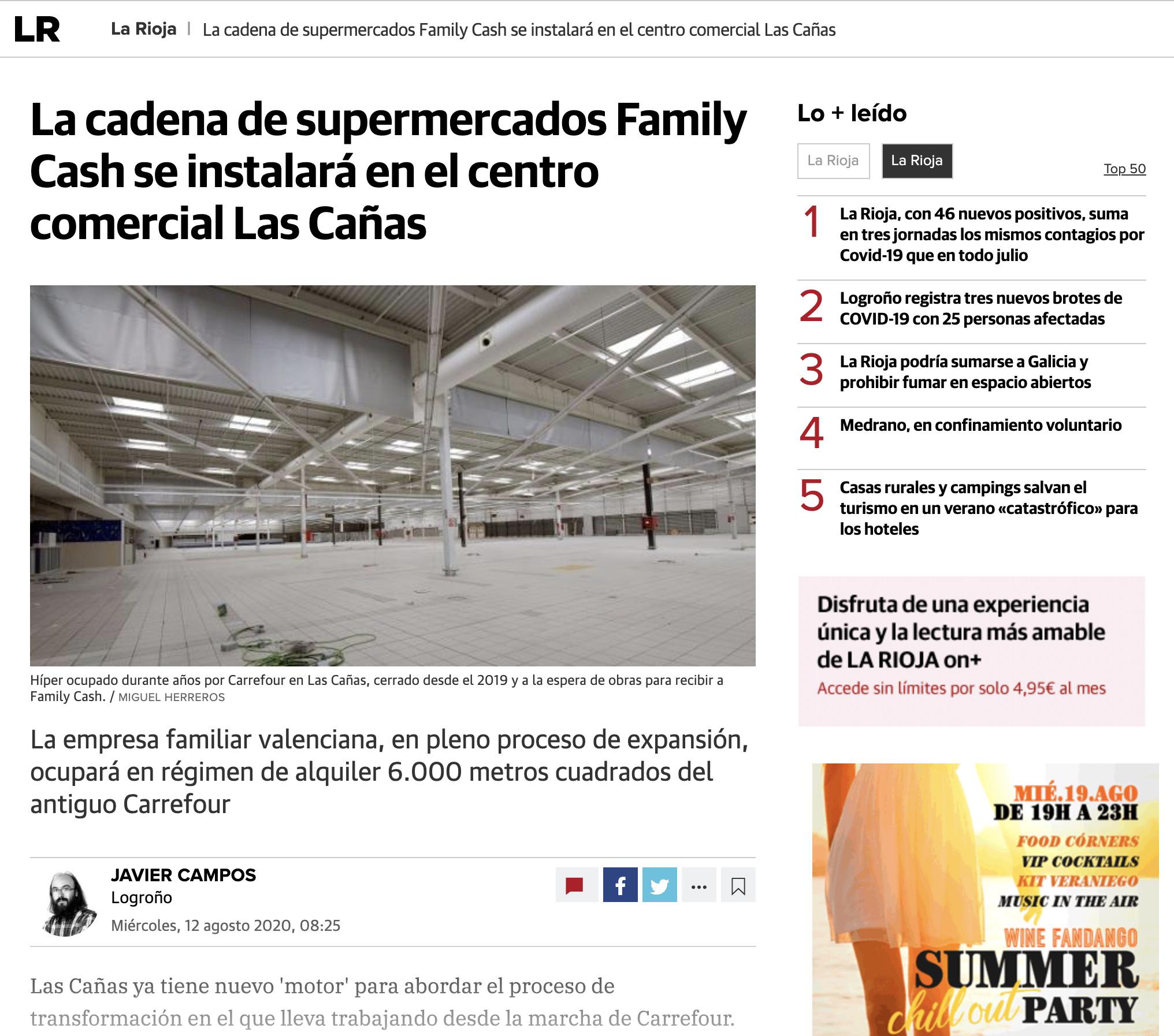 La cadena de supermercados Family Cash se instalará en el centro comercial Las Cañas