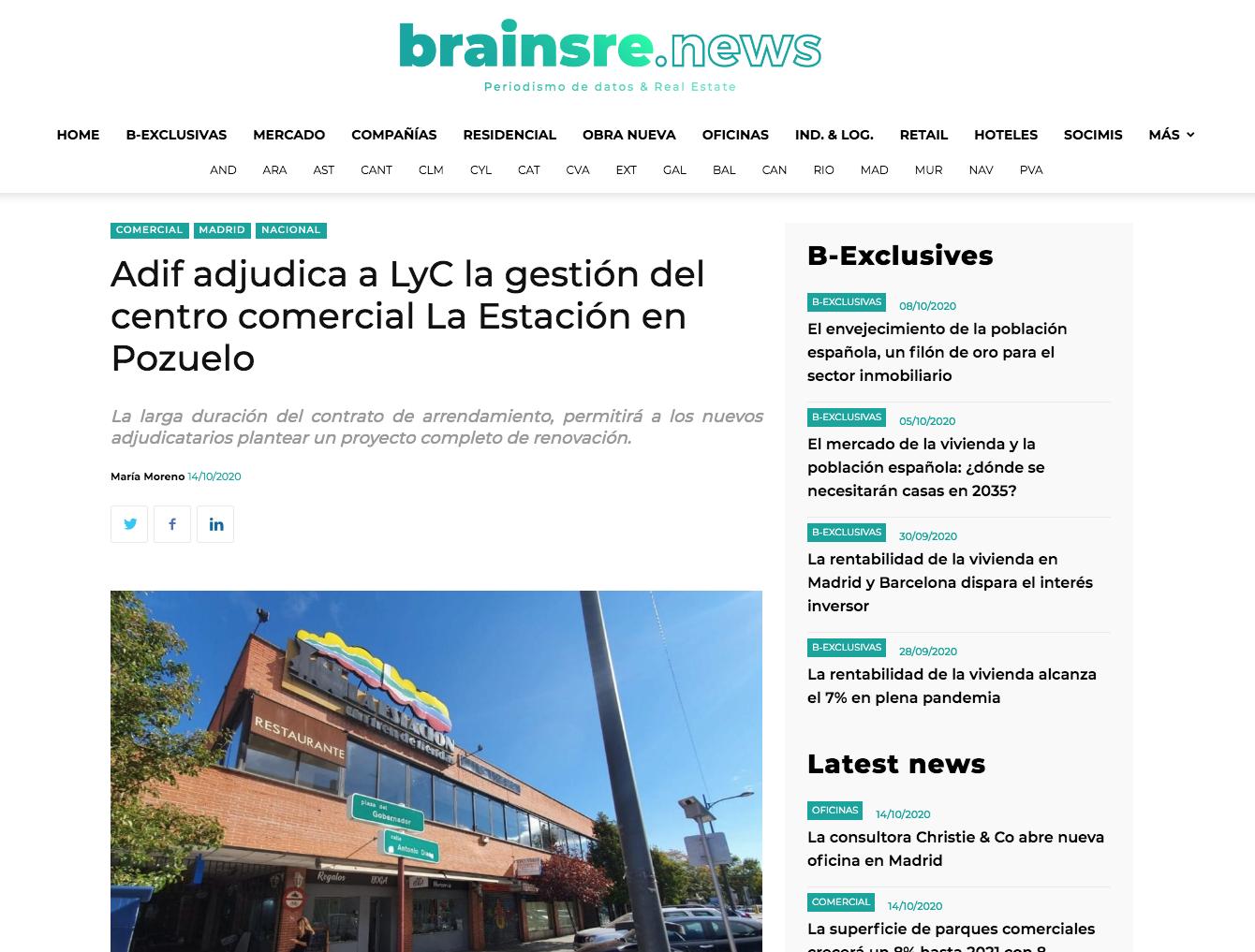 Adif adjudica a LyC la gestión del centro comercial La Estación en Pozuelo