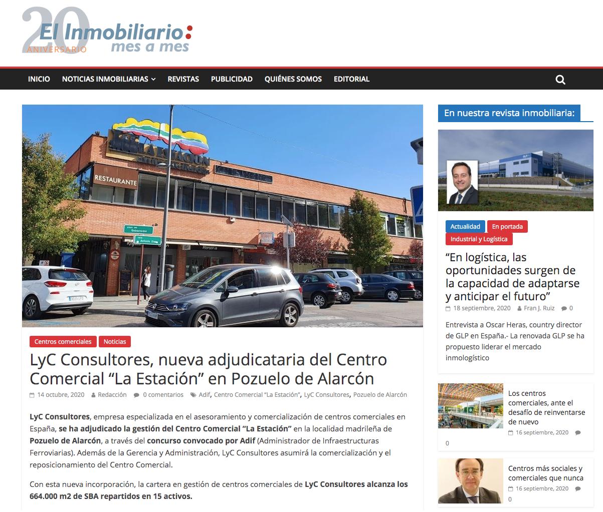 """LyC Consultores, nueva adjudicataria del Centro Comercial """"La Estación"""" en Pozuelo de Alarcón"""