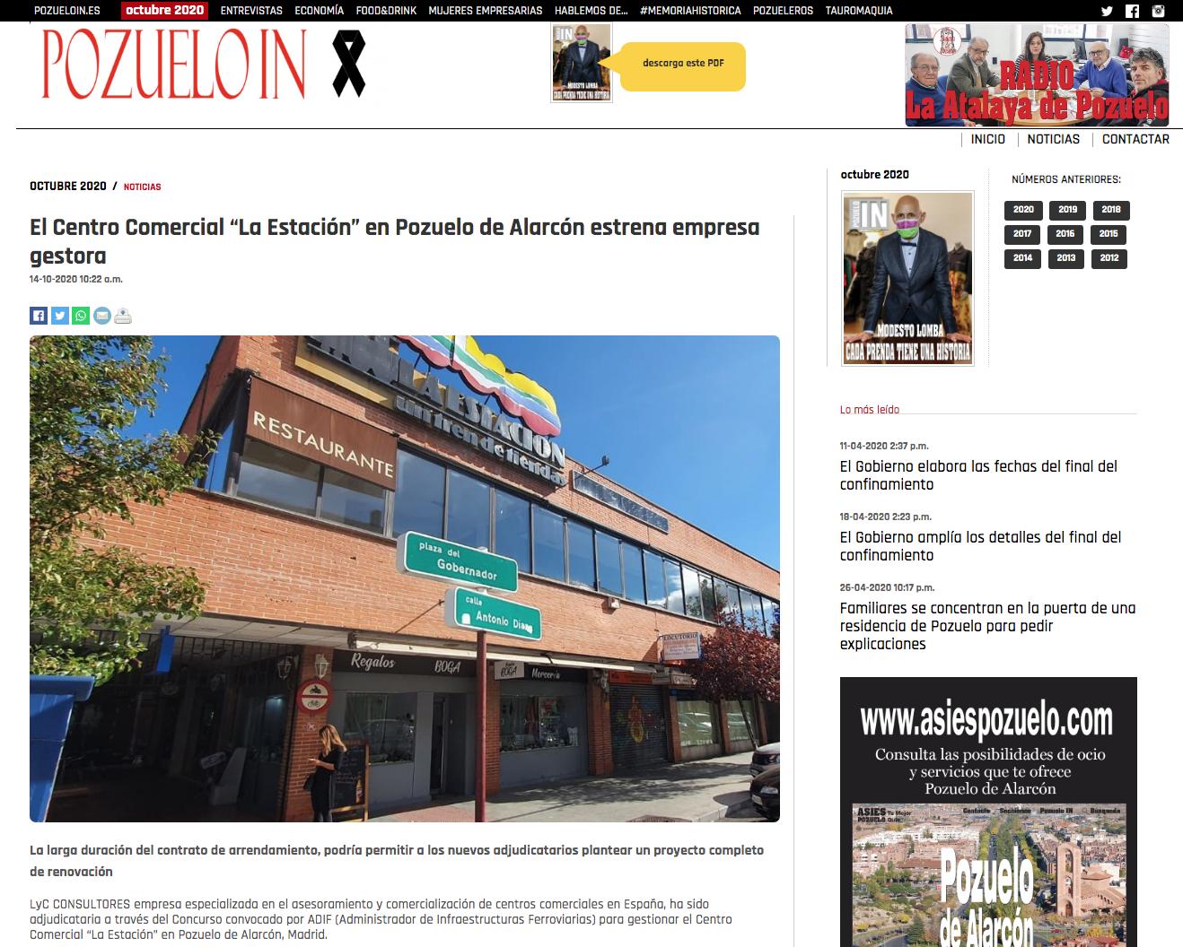 """El Centro Comercial """"La Estación"""" en Pozuelo de Alarcón estrena empresa gestora"""